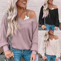Womens Ladies One Off Shoulder Chunky Knit Sweater Baggy Oversize Jumper Tops