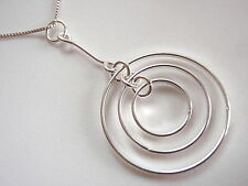 Triple Hanging Circles Necklace 925 Sterling Silver Corona Sun Jewelry