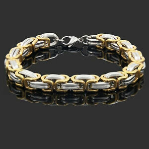 Punk Mens Women Stainless Steel Bracelet Bangle Wristband Clasp Cuff Chain Link