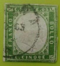 FRANCOBOLLO REGNO DI SARDEGNA 5 CENTESIMI 1861 VERDE USATO VITTORIO EMANUELE II