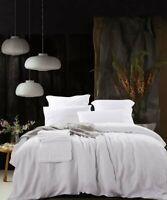 Pure French Linen Duvet Set Quilt Cover Set 3pcs - White Queen Size