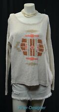 Lucky Brand Tribal sweater shabby back button knit chic Aztec top GEO SZ XL NEW
