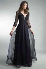 Basix Black Label D8849LS Navy & black beaded prom dress Long-sleeved (3/4) BNWT