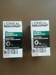 L'Oreal Men Expert Hydra-Sensitive Soothing Daily Moisturiser 0%Alcohol 50ml x 2