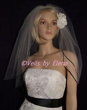 "Wedding Veil Elbow Black White Red Ivory 2Tiers 54"" Width 26"" length Ribbon Edge"