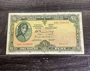 1976 Ireland 1 Pound Note World Currency