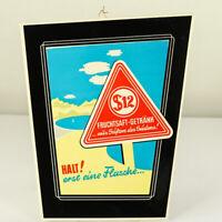 Altes Pappschild S12 Fruchtsaft Getränk Werbung Reklame Imoglas 50er Jahre