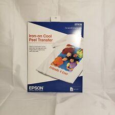 Epson Iron On Cool Peel Transfer 10 Sheets 850 X 11 Ink Jet Printer T Shirt
