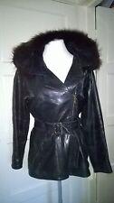 Giacca in Pelle Vintage con cappuccio pelliccia di volpe piccola 10/12