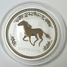 2002 Australia Lunar Year Of The Horse 2 Oz Silver Coin