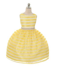 New Girls Striped Organza Yellow Dress Size 12 Easter Wedding Party Graduation