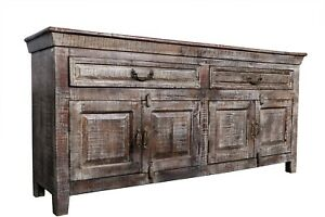 Antique Asian Handcrafted Cabinet Wood Furniture Hand Carved Solid Long Sideboar