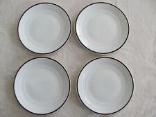 Thomson Diner Coffee Brown -Embossed Rings, Brown Trim -  Set of 4 Salad Plates