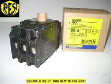 NEW IN BOX SQUARE D QO380 3 POLE 80 AMP Circuit Breaker - FAST SHIPPING