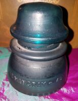 Hemingray 42 glass insulator -Dark Aqua BLUE Flat Finish USA