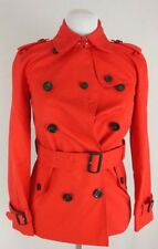 Coach Short Double Breasted Belted Trench Coat Bright Red Size 00