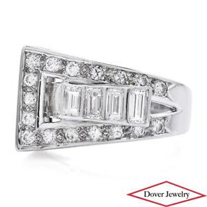 Antique Deco 1.65ct Diamond 18K Gold Fancy Buckle Design Ring 6.1 Grams NR