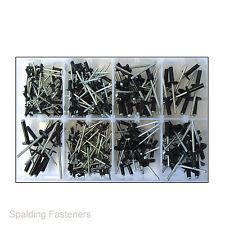 Assorted 3.2mm, 4.0mm & 4.8mm Black Standard & Flange Pop Rivets
