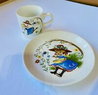 Vintage Bilton's Child's Plate & Cup Ironstone Little Miss Muffet
