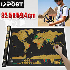 Deluxe Scratch off world Map Interactive large Poster Atlas Travel Decor Gift AU