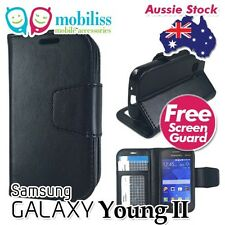 Samsung Galaxy Young 2 Sm-g130h Black Synthetic Leather TPU in Wallet Case Cover