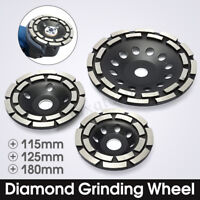 4.5/5/7'' Diamond Grinding Disc Cup Wheel Double Row Stone Brick Concrete  Gift
