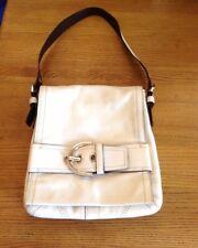 coach handbags-White  Leather Hobo  Shoulder Bag-white leather pocketbook
