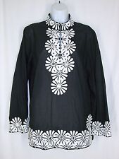 Think Tank Tunic Top L Black White Embroidered Flowers Hippie Boho