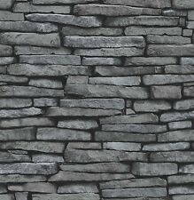 Fine Decor - FD31291 - Distinctive Brick / Stone Wallpaper - Grey / Charcoal