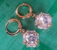 J14 Gold gf huggie hoop & drop dangle earrings sim diamond cube BOXED Plum UK