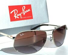 NEW* Ray Ban AVIATOR SILVER 64mm w Brown Blue Gradient Sunglass RB 3387 003