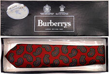 """BURBERRYS NEW VINTAGE PAISLEY SILK TWILL TIE MADE IN ENGLAND W3.5"""" ORIG.GIFT BOX"""