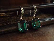 Vintage Deco Emerald Green Emerald Cut Crystal Drop Earrings. Very Downton Abbey