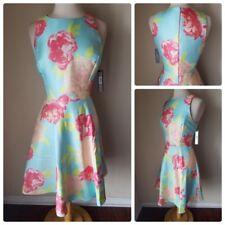 NWT Tahari ASL Women's Dress Blue Coral Blush Fit & Flare Sleeveless Floral 14