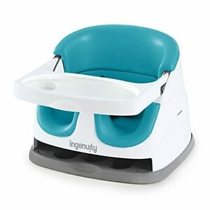 Baby Base 2-in-1 Booster Feeding and Floor Seat with Self-Storing Peacock Blue