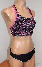 NWT Speedo Fit Swimsuit Bikini 2 piece Set Sz 10 Black Power Pink Sport Bra