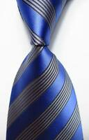New Classic Striped Blue Gray JACQUARD WOVEN 100% Silk Men's Tie Necktie