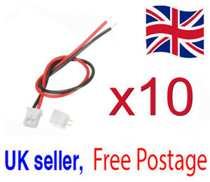 10x Mini Micro JST 2.0 PH 2 Pin Connector Plug 115mm Cables & Sockets UK Seller