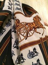 Designer Inspired French Horse Carriage Scarf Navy Chain Link VTG NOS 1970's