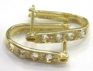 SYJEWELLERY 9CT SOLID YELLOW GOLD ROUND NATURAL WHITE TOPAZ HOOP EARRINGS E908