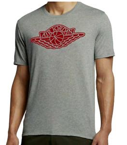 Air Jordan Tee Mens 2XL Authentic Gray Red Wings Logo Short Sleeve Crew Shirt