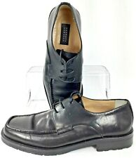 Barneys New York Dress Oxfords Mens 9 Black Square Apron Toe Lace Up Shoes Italy