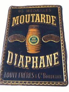 TÔLE LITHOGRAPHIÉE PUBLICITAIRE ANCIENNE MOUTARDE DIAPHANE LOUIT FRÈRES BORDEAUX