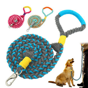 5ft Strong Dog Leash With Soft Handle Handmade Braided Cotton Rope Heavy Duty