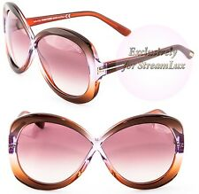 TOM FORD Butterfly Sunglasses MARGOT TF226 50Z Transparent Brown Violet