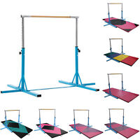 Blue Adjustable Gymnastics Training Horizontal Bar Sports Equipment with Gym Mat