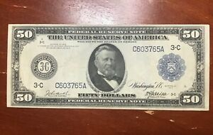 1914 $50  FEDERAL RESERVE NOTE  FR#1035 CHOICE VF SUPER NICE ORIGINAL