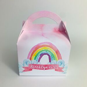 Watercolour Rainbow Children's Personalised Party Boxes Favours Gift Bags