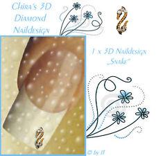 5 Diamond Snake 3D Naildesign viele Swarovski Edelsteine Top Marke Nagelschmuck