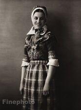 1924 Original SCANDINAVIA Photo Gravure Danish Denmark Girl Hedebo Dress Bonnett